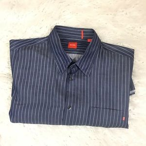 Hugo Boss Blue and white striped button down shirt